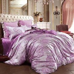 皇居家纺 天鹅绒提花四件套 1.5m-1.8m床 舞动玫瑰-红雪青