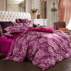 皇居家纺 天鹅绒提花四件套 1.5m-1.8m床 幸福花开-樱红