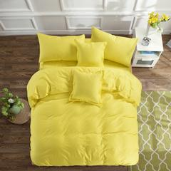 皇居家纺 全棉素色双拼四件套【赠抱枕套1只】 1.5m(5英尺)床 柠檬黄