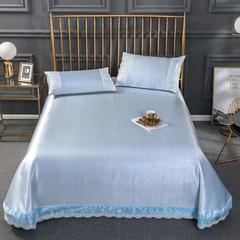 皇居家纺2019 600D花边款色织提花水洗床单款软凉席三件套 250*250(三件套) 天蓝