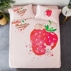 慕尚家纺    2018数码北欧宜家大版冰丝席(第一风格) 1.2m两件套 草莓兔