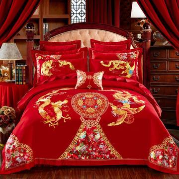 2016大红婚庆系列11.25 长绒棉系列 标准床单款 龙腾喜悦 大红