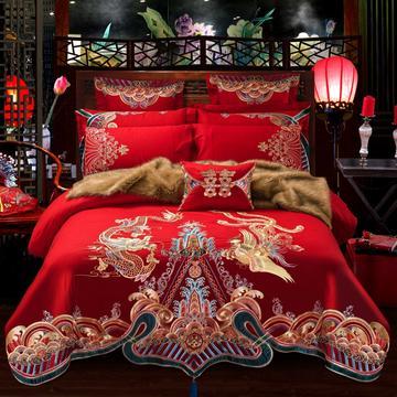 2018新款-大红婚庆多套件系列6.13 标准床单款(1.5m-1.8m床) 九五挚恋