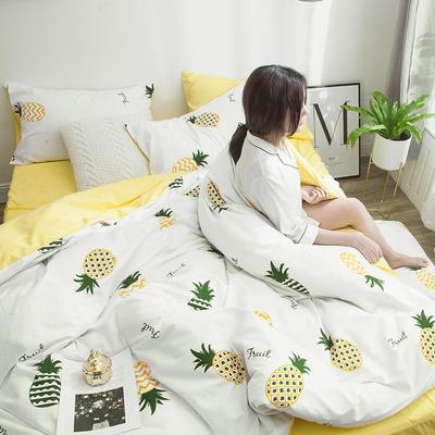 2019新款13070全棉斜纹多规格印花四件套 1.2m床单款三件套 菠萝