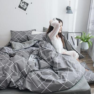 2019新款13070全棉斜纹多规格印花四件套 1.2m床单款三件套 布拉格