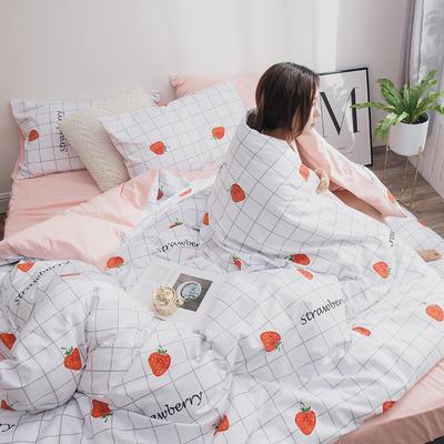 2019新款13070全棉斜纹多规格印花四件套 1.2m床单款三件套 草莓甜心