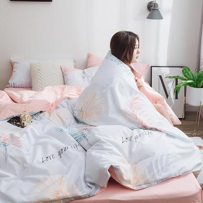 2019新款13070全棉斜纹多规格印花四件套 1.2m床单款三件套 相思叶