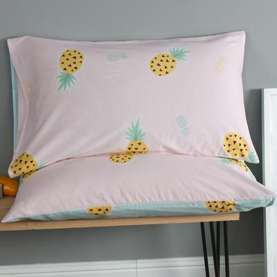 2019新款12868春夏系列全棉单枕套一对48*74cm 48cmX74cm 菠萝蜜