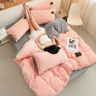魔法绒毛线款 1.5m床单款四件套 粉玉+浅灰