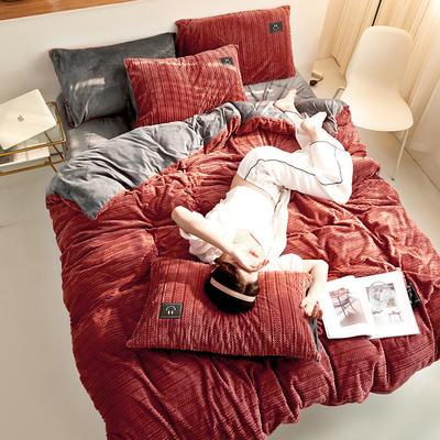 魔法绒毛线款 1.5m床单款四件套 褐色+深灰