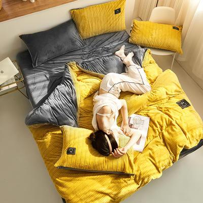 魔法绒毛线款 1.2m床单款三件套 姜黄+深灰