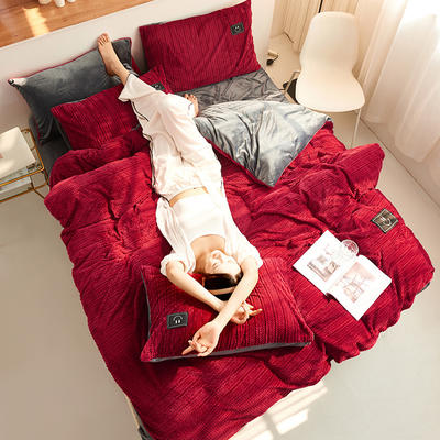 魔法绒毛线款 1.5m床单款四件套 酒红+深灰