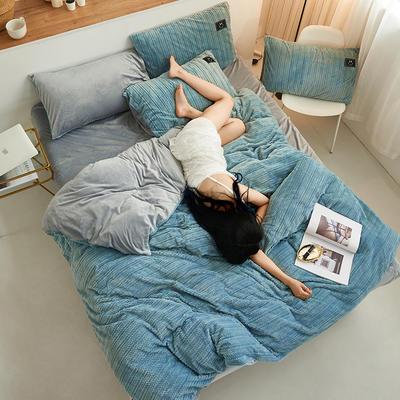 魔法绒毛线款 1.8m床单款四件套 浅蓝+浅灰