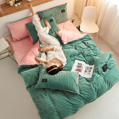 魔法绒毛线款 1.5m床单款四件套 浅绿+粉玉