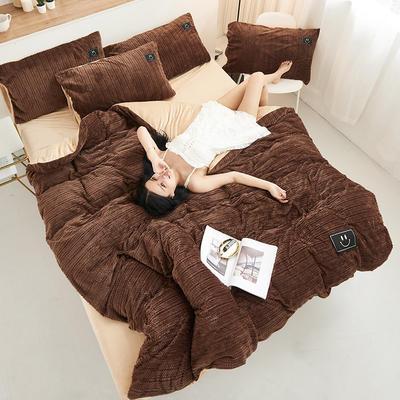 魔法绒毛线款 1.5m床单款四件套 深咖+米驼