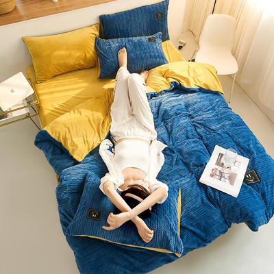 魔法绒毛线款 1.5m床单款四件套 深蓝+姜黄