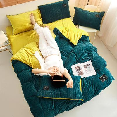 魔法绒毛线款 1.5m床单款四件套 深绿+姜黄