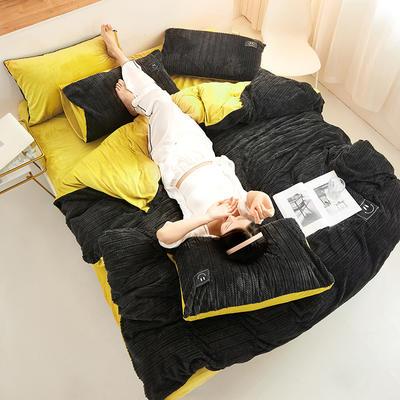 魔法绒毛线款 1.5m床单款四件套 烟灰+姜黄
