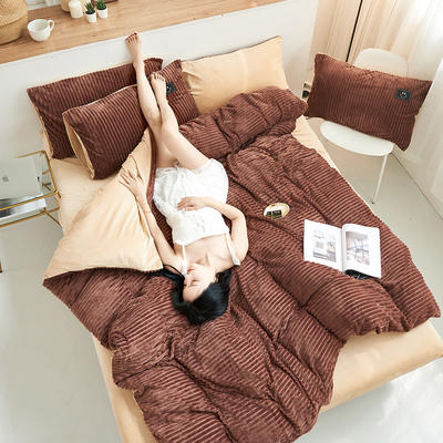 魔法绒直条款 1.5m床单款四件套 咖啡+浅驼
