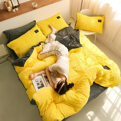 魔法绒直条款 1.2m床单款三件套 亮黄+深灰