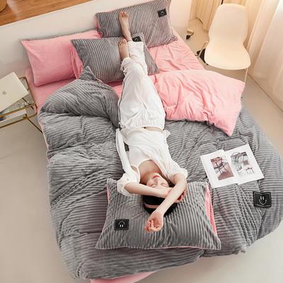 魔法绒直条款 1.5m床单款四件套 浅灰+粉玉