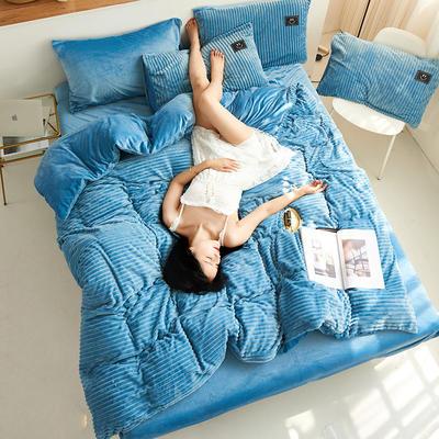魔法绒直条款 1.5m床单款四件套 浅蓝