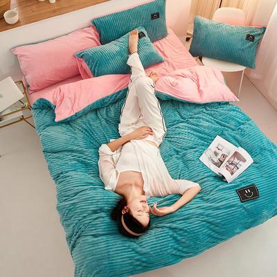 魔法绒直条款 1.5m床单款四件套 浅绿+粉玉