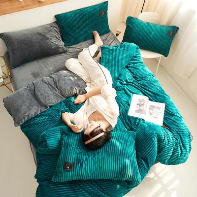 魔法绒直条款 1.5m床单款四件套 深绿+深灰