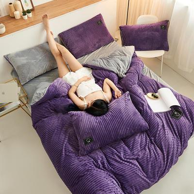 魔法绒直条款 1.5m床单款四件套 深紫+浅灰