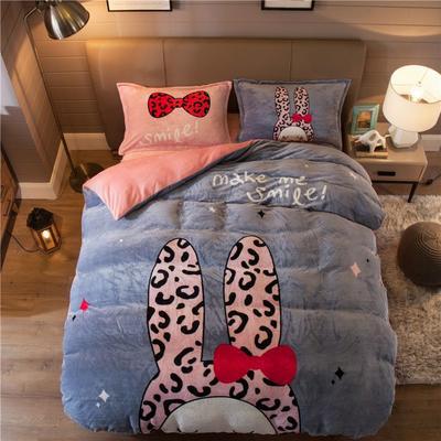 大版法莱绒四件套 1.2m床单款三件套 豹纹兔