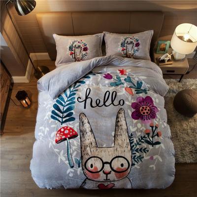大版法莱绒四件套 1.2m床单款三件套 花园兔