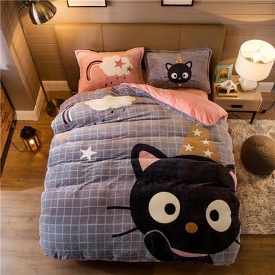 大版法莱绒四件套 1.2m床单款三件套 皇冠猫