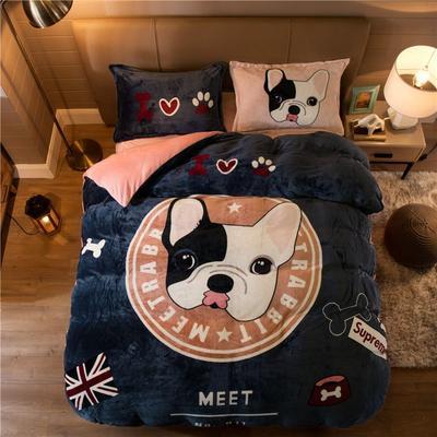 大版法莱绒四件套 1.2m床单款三件套 明星狗