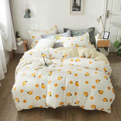 小版法莱绒四件套 1.5m床单款 柠檬