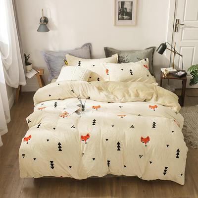 小版法莱绒四件套 1.5m床单款 雪狐