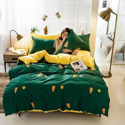 2019新款棉加绒四件套 1.8m床单款 胡萝卜 绿