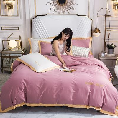 2020新款全棉绣花纯棉刺绣四件套—甜蜜的梦(深色➕10元) 1.5m床单款四件套 甜蜜的梦-豆沙色