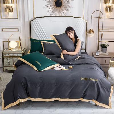 2020新款全棉绣花纯棉刺绣四件套—甜蜜的梦(深色➕10元) 1.5m床单款四件套 甜蜜的梦-高级灰
