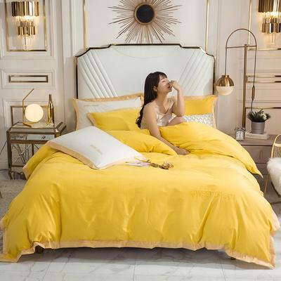 2020新款全棉绣花纯棉刺绣四件套—甜蜜的梦(深色➕10元) 1.5m床单款四件套 甜蜜的梦-柠檬黄