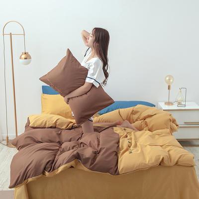2020年新款全棉刺绣双拼四件套 1.5m(5英尺)床 咖啡金