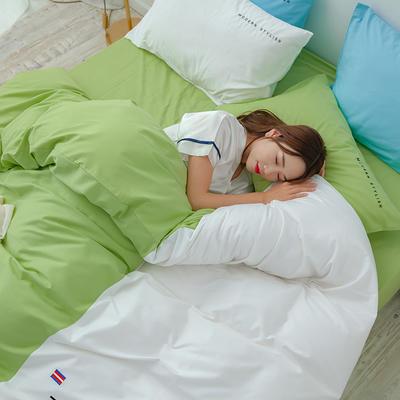 2020年新款全棉刺绣双拼四件套 1.5m(5英尺)床 抹茶白