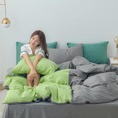 2020年新款全棉刺绣双拼四件套 1.5m(5英尺)床 抹茶灰