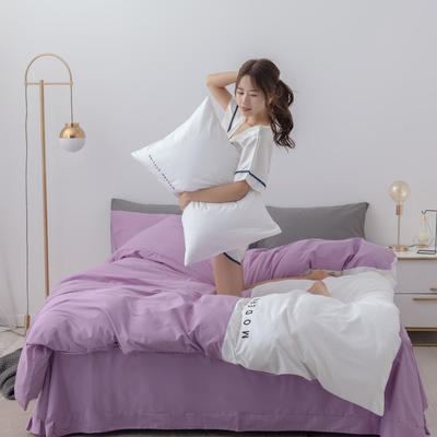 2020年新款全棉刺绣双拼四件套 1.5m(5英尺)床 浅紫白