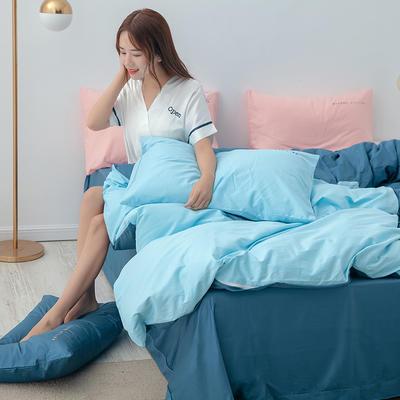 2020年新款全棉刺绣双拼四件套 1.5m(5英尺)床 天空蓝