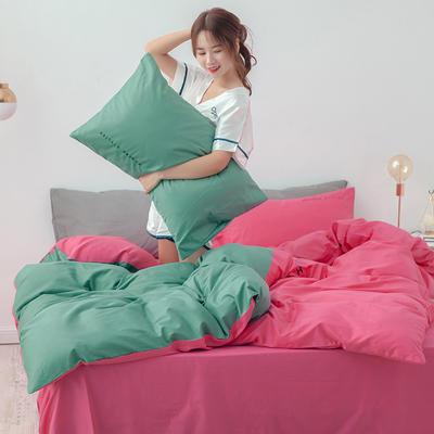 2020年新款全棉刺绣双拼四件套 1.5m(5英尺)床 胭脂绿