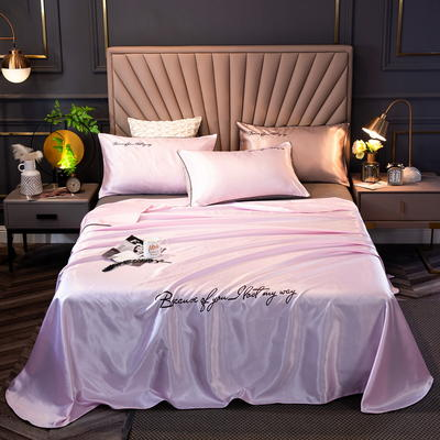 2020新款纯色字母绣花床单款冰丝席三件套 250*250cm三件套(1.5-1.8床通用) 情网-魅力紫