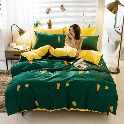 2020新款棉加绒四件套 1.8m床单款四件套 胡萝卜 绿