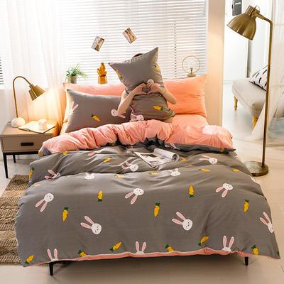 2020新款棉加绒四件套 1.5m床单款四件套 胡萝卜兔 灰