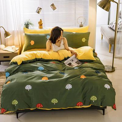 2020新款棉加绒四件套 1.8m床单款四件套 蘑菇 绿