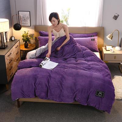 2020新款特价法莱绒魔法绒四件套 1.8m床单款四件套 魔法绒-紫色拼浅灰